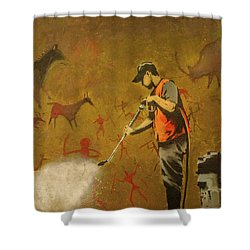 Banksy's Cave Painting Cleaner Shower Curtain