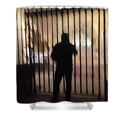 Shower Curtain featuring the photograph Barred From Heaven by Alex Lapidus