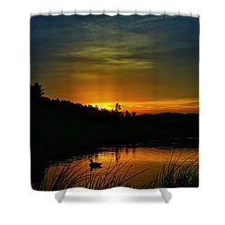 Bass Lake Sunrise Duck Shower Curtain