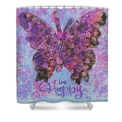 Be Happy 2 Butterfly Shower Curtain