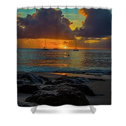 Shower Curtain featuring the photograph Beach At Sunset by Stuart Manning
