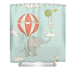 Shower Curtain featuring the painting Floating Elephant And Bear Whimsical Animals by Matthias Hauser