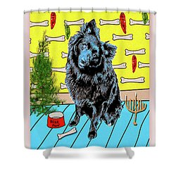 Bear Paw Holiday Shower Curtain