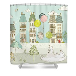 Shower Curtain featuring the painting Bears And Mice Outside The City Cute Whimsical Kids Art by Matthias Hauser
