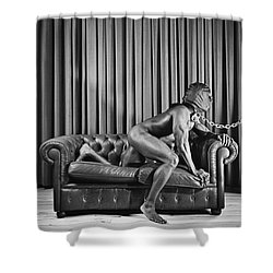 Beautiful Naked Man With Mask Posing On A Sofa Shower Curtain