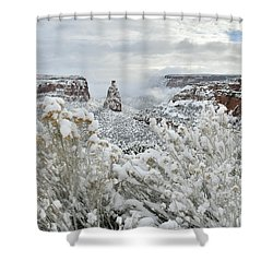 Beautiful Snow Morning Along Rim Rock Drive Shower Curtain