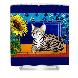 Beauty In Bloom - Savannah Cat Painting Shower Curtain