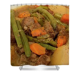 Shower Curtain featuring the photograph Beef Stew Serving by Angie Tirado