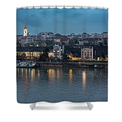 Belgrade Skyline And Sava River Shower Curtain