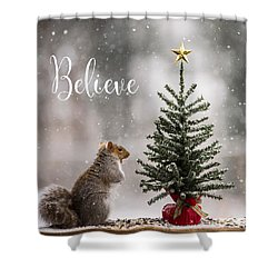 Believe Christmas Tree Squirrel Square Shower Curtain