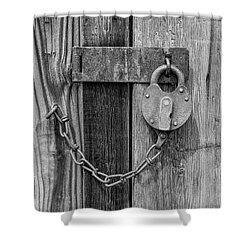 Belmont Lock, Black And White Shower Curtain