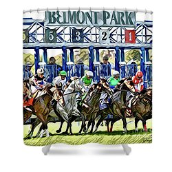 Belmont Park Starting Gate 1 Shower Curtain