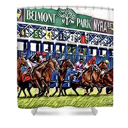 Belmont Park Starting Gate 2 Shower Curtain