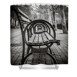 Bench Circles Shower Curtain