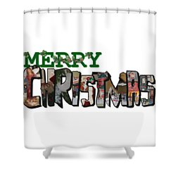 Big Letter Merry Christmas Shower Curtain