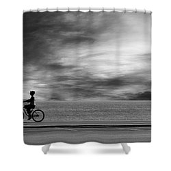 Shower Curtain featuring the photograph Biking On Pch by John Rodrigues