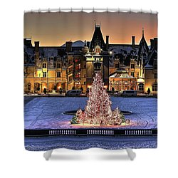 Biltmore Christmas Night All Covered In Snow Shower Curtain