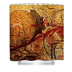 Bison Horse And Other Animals Closer - Narrow Version Shower Curtain