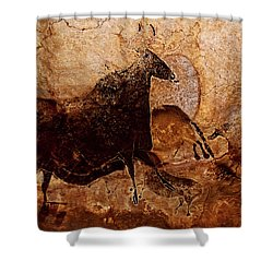 Black Cow And Horses Shower Curtain