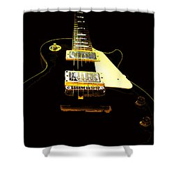 Black Guitar With Gold Accents Shower Curtain