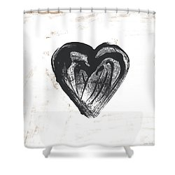 Shower Curtain featuring the mixed media Black Heart- Art By Linda Woods by Linda Woods