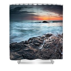 Black Sea Rocks Shower Curtain