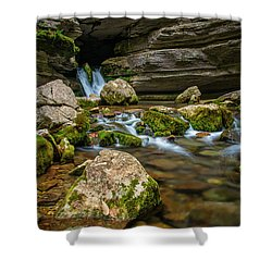 Shower Curtain featuring the photograph Blanchard Springs Headwater by Andy Crawford