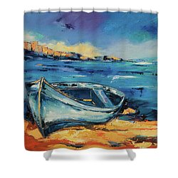 Blue Boat On The Mediterranean Beach Shower Curtain