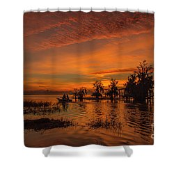 Blue Cypress Sunrise With Boat Shower Curtain