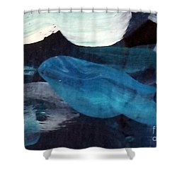 Shower Curtain featuring the painting Blue Fish by Maria Langgle