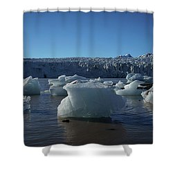 Blue Icebergs Floating Along Storm Arctic Coast Panorama Shower Curtain