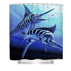 Blue Marlins Shower Curtain