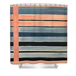 Blue Peachy Stripes Shower Curtain