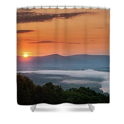 Blue Ridge Sunrise End Of Summer Shower Curtain