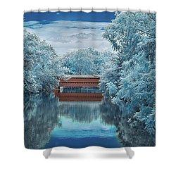 Blue Sach's Shower Curtain