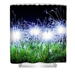 Shower Curtain featuring the photograph Blue Sparklers In The Grass by Scott Lyons