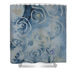 Shower Curtain featuring the drawing Blue Spirals by AJ Brown