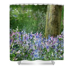 Bluebells Under The Trees Shower Curtain