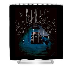 Blues Guitar Music Notes Shower Curtain