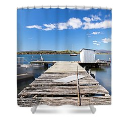 Shower Curtain featuring the photograph Boat Jetty Found On Bruny Island In Tasmania, Australia. by Rob D