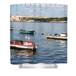 Boats In The Harbor Havana Cuba 112605 Shower Curtain