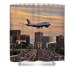 Boeing 747 Landing In San Diego Shower Curtain