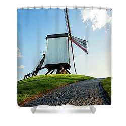 Shower Curtain featuring the photograph Bonne Chiere Windmill Bruges Belgium by Nathan Bush