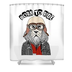 Born To Ride - Baby Room Nursery Art Poster Print Shower Curtain