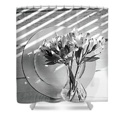 Bouquet And Plate-bw Shower Curtain