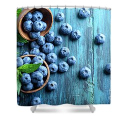 Bowl Of Fresh Blueberries On Blue Rustic Wooden Table From Above Shower Curtain