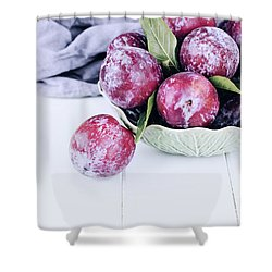 Bowl Of Fresh Plums Shower Curtain