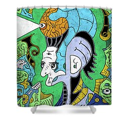 Shower Curtain featuring the digital art Brain-man by Sotuland Art