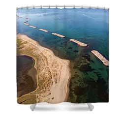 Shower Curtain featuring the photograph Breakwater by Okan YILMAZ