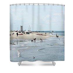 Breezy Point Lighthouse Summer Days Shower Curtain